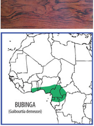 map of where bubinga grows and a wood swatch