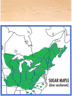 map of where hard maple grows and a wood swatch