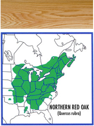 map of where red oak grows and a wood swatch